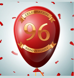 red balloon with golden inscription 96 years vector image vector image
