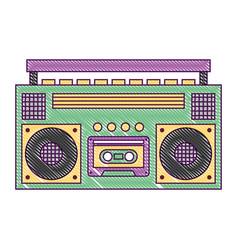 retro stereo cassette player music recorder vector image