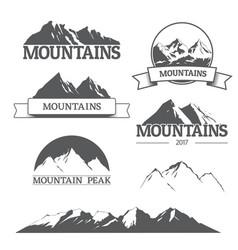 set of mountain logos on white vector image vector image