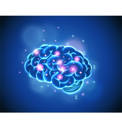 Brain Concept of blue background vector image