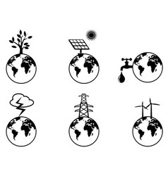 earth resources icons set vector image vector image