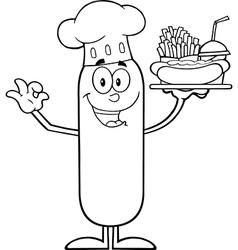 Happy Chef Sausage Cartoon vector image