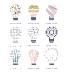 Idea Bulb Different Abstract Design Pastel Icons vector image vector image