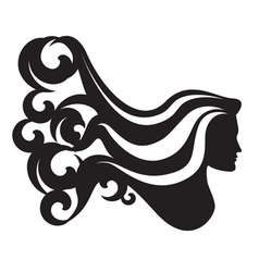 Profile silhouette of a woman head vector image