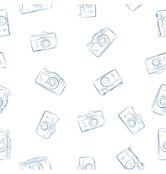 Seamless pattern from ink retro photocameras vector image vector image