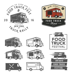 Set of food truck festival emblems badges and des vector