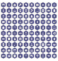100 box icons hexagon purple vector