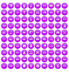 100 transport icons set purple vector image