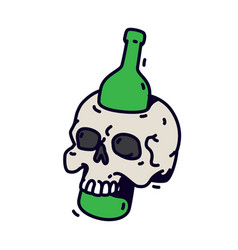 a skull with a bottle a green bottle pierces a vector image