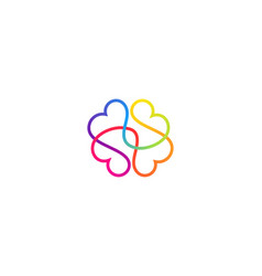 Abstract one line brain logo icon minimal style vector