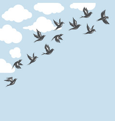 Background with flock of birds vector