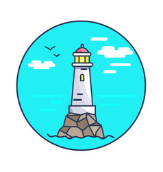 beacon and rocks circle icon vector image