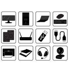 Black goods icons of computer online store vector