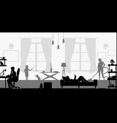 Black silhouette family in living room vector