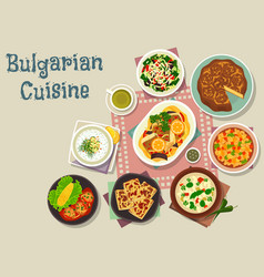 bulgarian cuisine traditional lunch dishes icon vector image
