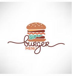 Burger menu logo template with simple flat vector