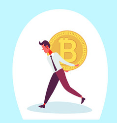 businessman carry back bitcoin coin male mining vector image
