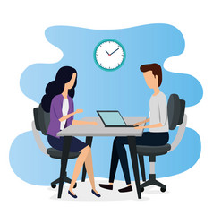 Businesswoman and businessman teamwork with laptop vector
