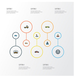Car colorful outline icons set collection of vector