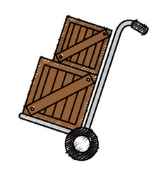 Cart with boxes wooden delivery service vector