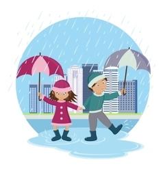 Children with umbrellas in the rain vector image