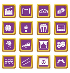 cinema icons set purple vector image