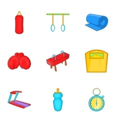 Classes in fitness room icons set cartoon style vector