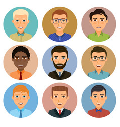 Collection avatars various young men vector