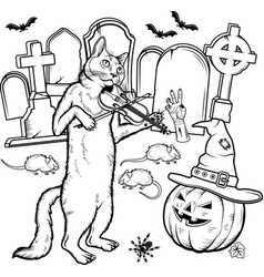 Coloring book halloween characters vector