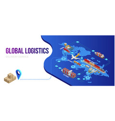 connection of global logistics scheme with vector image
