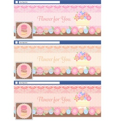 Cute pastel face book page cover banner and vector