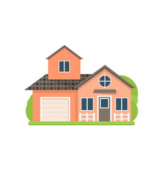 cute small light red village house with garage vector image