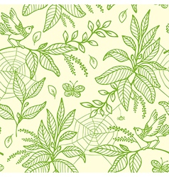Decorative nature green seamless pattern vector image