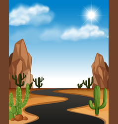 Desert scene with road and cactus vector