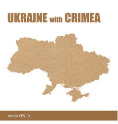 Detailed map ukraine with crimea cut out of vector