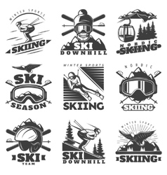 Downhill Skiing Labels Set vector