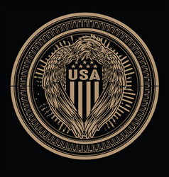 Eagle wing annimal on circle flag usa america vector