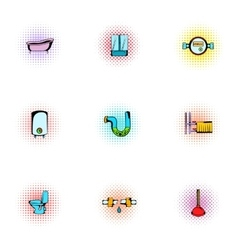Equipment for bathroom icons set pop-art style vector