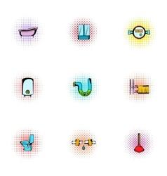 Equipment for bathroom icons set pop-art style vector