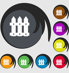 Fence icon sign Symbols on eight colored buttons vector image