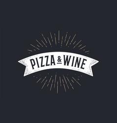 Flag ribbon pizza wine old school banner vector