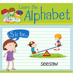 Flashcard letter S is for seesaw vector