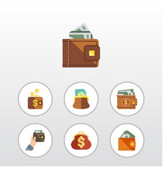 flat icon billfold set of finance purse payment vector image