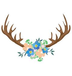 Floral antlers vector