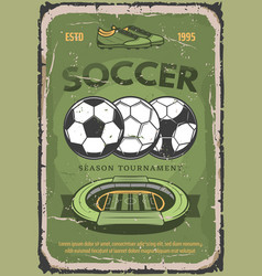 football or soccer sport retro poster vector image