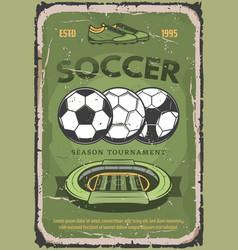 Football or soccer sport retro poster vector