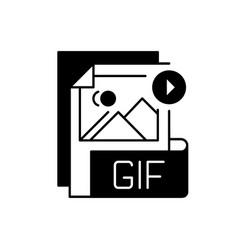 Gif file black linear icon vector