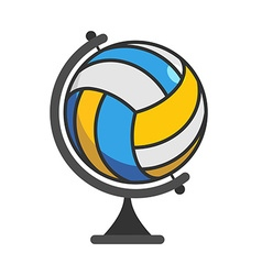 Globe volleyball World game Sports accessory as vector image