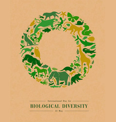 Green wild animal icon recycled paper circle frame vector