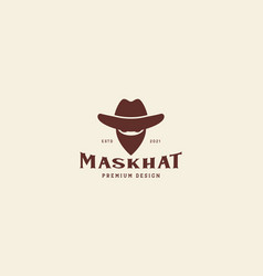 Head cowboy with hat and mask vintage logo design vector
